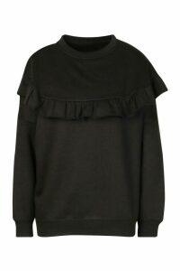 Womens Petite Ruffle Front Sweatshirt - Black - 6, Black