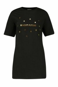 Womens Petite 'Bright Future' Foil Print Slogan T-Shirt - black - L, Black