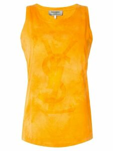 Yves Saint Laurent Pre-Owned tonal logo tank top - ORANGE
