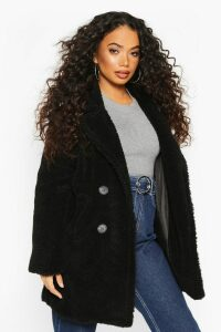 Womens Petite Double Breasted Teddy Coat - black - 8, Black