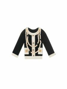 Chanel Pre-Owned pearl-trim jacket brooch - Black
