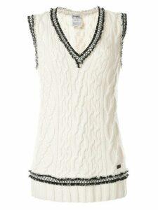 Chanel Pre-Owned fringe trim knitted vest - White