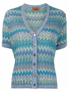 Missoni Pre-Owned 1990s zig zag weave cardigan - Blue