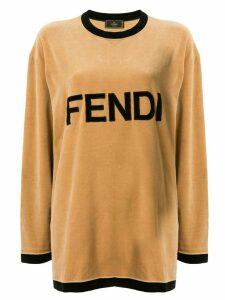 Fendi Pre-Owned velvet effect logo T-shirt - Brown
