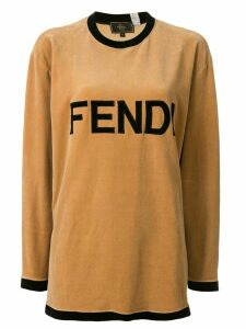 Fendi Pre-Owned velvet effect logo T-shirt - Brown