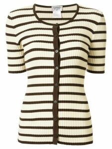 Chanel Pre-Owned 1998 striped buttoned knitted top - White