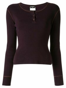 Chanel Pre-Owned buttoned long-sleeved knitted top - PURPLE