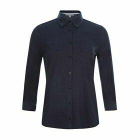 Navy Button Through Jersey Shirt