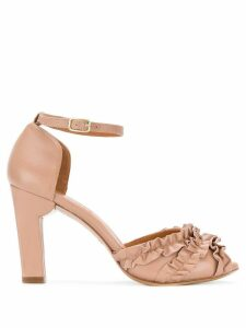 Chie Mihara ruffle panel heeled sandals - NEUTRALS