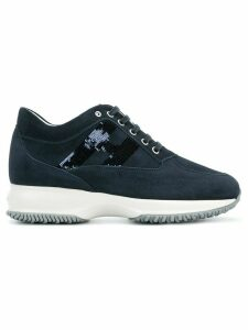 Hogan sequinned logo lace-up sneakers - Blue