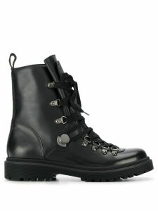Moncler lace-up leather army boots - Black