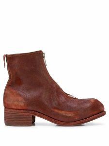 Guidi distressed ankle boots - Red