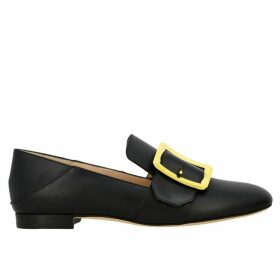 Bally Loafers Janelle Loafers In Smooth Leather With Maxi Metal Buckle And Foldable Heel