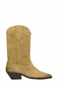 Isabel Marant Duerto Texan Ankle Boots In Beige Suede