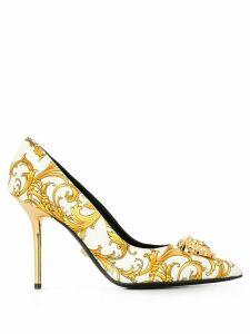 Versace Barocco print Medusa pumps - White