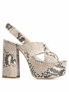 Miu Miu python print leather sandals - NEUTRALS