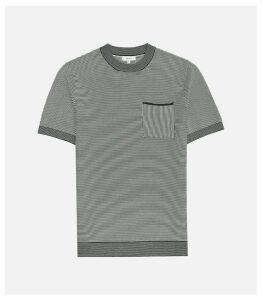 Reiss Marcello - Striped Crew Neck Knitted Top in Blue/white, Mens, Size XXL