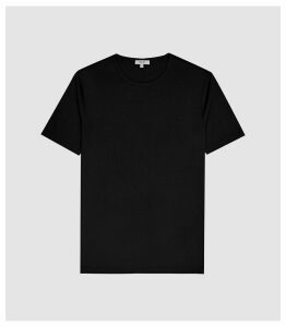Reiss Balham - Mercerised Crew Neck T-shirt in Black, Mens, Size XXL