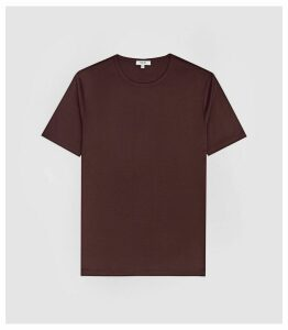 Reiss Balham - Mercerised Crew Neck T-shirt in Bordeaux, Mens, Size XXL