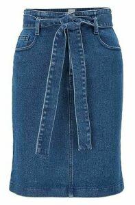 Regular-fit miniskirt in mid-blue stretch denim