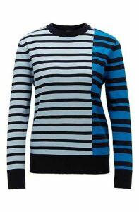 Stripe-intarsia sweater in cotton with silk