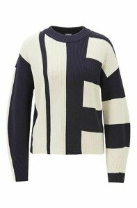 Relaxed-fit sweater in colour-block cotton with silk