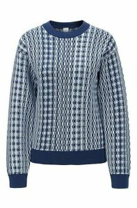Monogram-jacquard sweater in cotton with silk