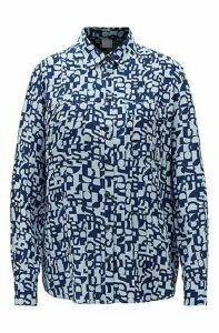 Regular-fit blouse in silk with deconstructed logo print