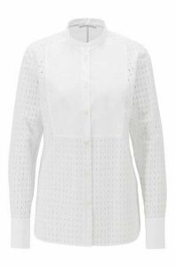 Regular-fit cotton blouse with monogram embroidery