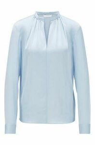 Crepe-de-Chine blouse with stand collar
