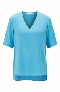Regular-fit blouse in silk-blend crepe de Chine
