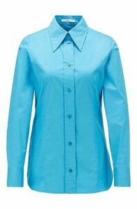 Regular-fit blouse in paper-touch stretch cotton