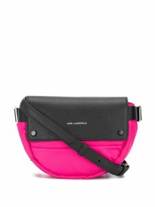 Karl Lagerfeld two-tone logo crossbody bag - PINK