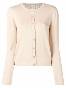 RedValentino pleated knitted cardigan - NEUTRALS