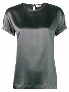 Brunello Cucinelli shortsleeved satin blouse - Grey