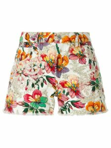 Isabel Marant printed denim broderie anglaise shorts - Multicolour