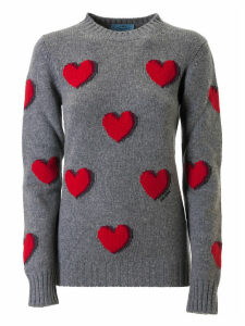 Prada Hearts Embroidery Sweatshirt