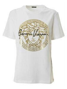 Versace Metallic Medusa Logo With Signature T-shirt