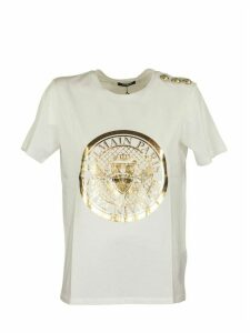Balmain T-shirt White/gold Medallion Print