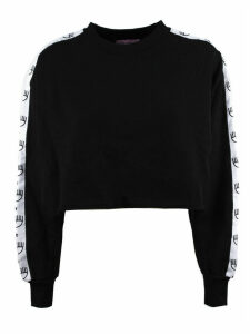 Chiara Ferragni Black Cotton Cropped Sweatshirt