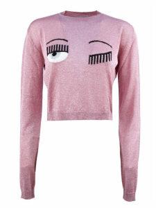 Chiara Ferragni Cropped Pink Lurex Sweater