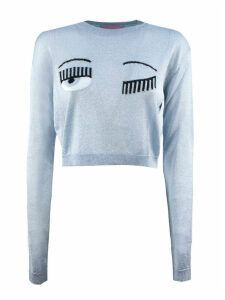 Chiara Ferragni Cropped Light Blue Lurex Sweater