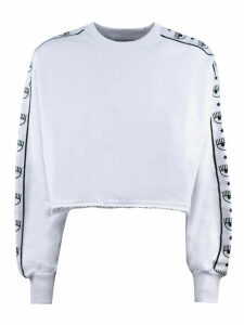 Chiara Ferragni White Cotton Cropped Sweatshirt