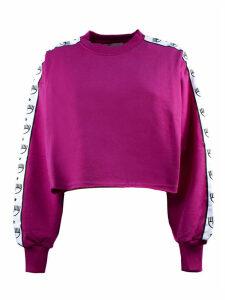 Chiara Ferragni Fuchsia Cotton Cropped Sweatshirt
