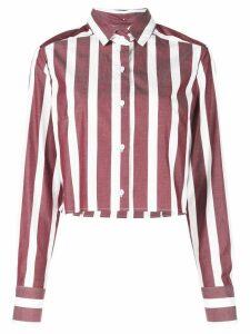 Dresshirt Ashley Striped Crop Top - Red