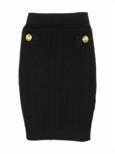 Balmain Knitted Bodycon Skirt Black
