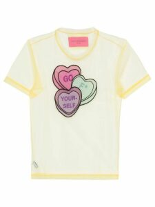 Viktor & Rolf Lovehearts-embroidered tulle T-shirt - Yellow