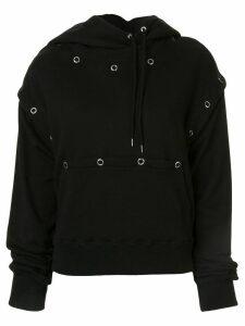 Maison Mihara Yasuhiro eyelet detail hoodie - Black