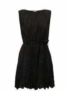 Mes Demoiselles - Carla Waist-tie Plissé-cotton Mini Dress - Womens - Black