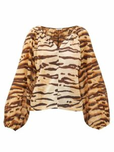 Mes Demoiselles - Birmania Tiger-print Cotton-gauze Blouse - Womens - Brown Print